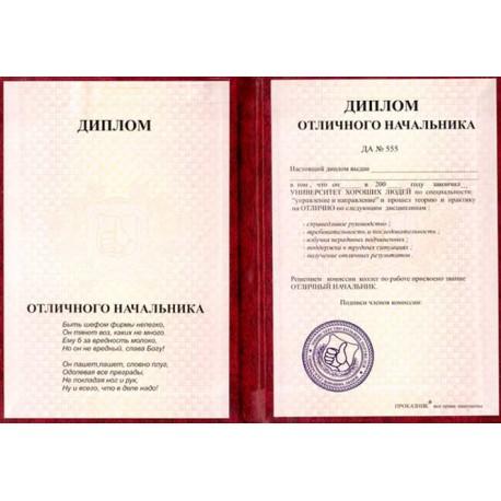 Диплом Отличного Начальника фото 1 — Shutka