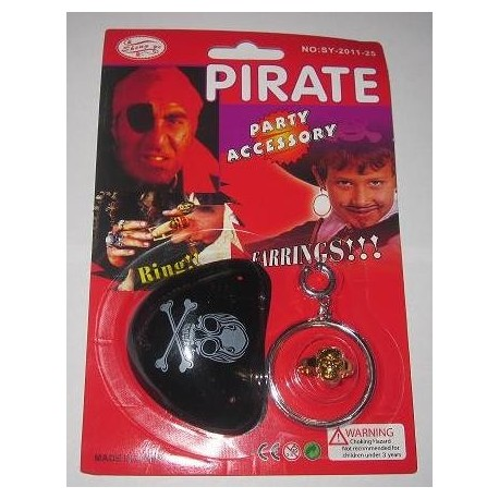 Набор Пирата (кольцо, серьга, повязка на глаз) фото 1 — Shutka
